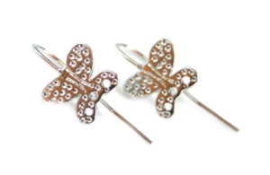 Butterfly Shepard hook earring component pair, 18mm, nickel free