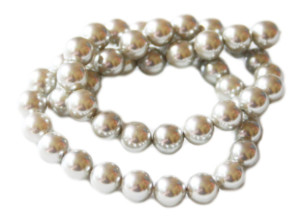 8mm Shell pearl string, silver, 38cm