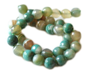 Green colored agate bead string, faceted, 10mm, 40cm