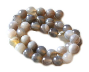 Grey colored agate bead string, faceted, 10mm, 40cm