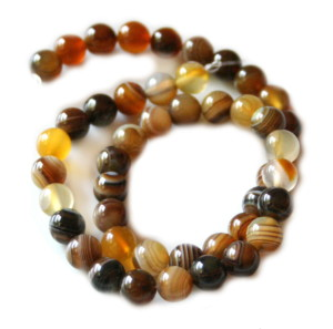 Brown colored agate bead string, 8mm, 40cm