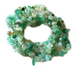Green Chalcedony chip string, 80cm
