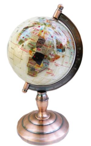 Cream globe with brushed bronze metal frame, 28cm high