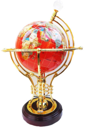 Red and gold globe, turn and light setting, wooden stand, 48cm high