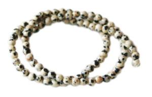 Dalmatian stone bead string, 4mm, round, 40cm