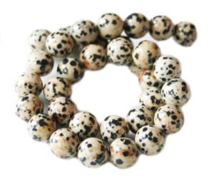 Dalmatian stone bead string, 12mm, round, 40cm