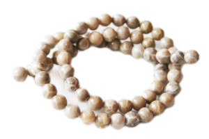 Fossil Coral Jasper bead string, AAA-grade, round, 6mm, 40cm