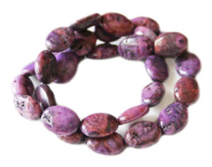 Purple Crazy Lace Agate bead string, dyed, oval buttons, 10x14mm, 40cm