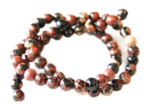 Red snowflake jasper bead string, 6mm, round, 40cm