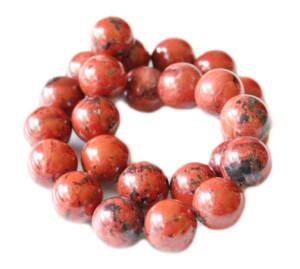 Red jasper bead string, round, 16mm, 40cm