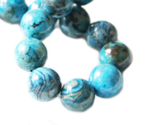 Blue Crazy Lace Agate bead string, dyed, round, 12mm, 40cm