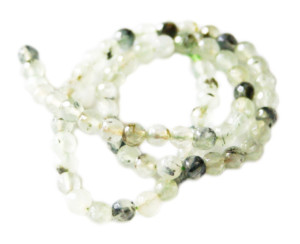 Prehnite bead string, faceted, round, 6mm, 40cm