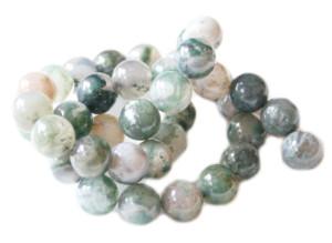 Green moss agate bead string, 10mm, 40cm