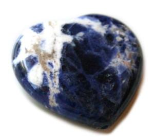 Sodalite heart bead, hole top to bottom, 17mm