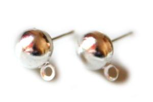 4 x Nickel free earring pair, 8mm ball stud w loop