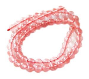 Cherry quartz bead string, round, faceted, 6mm, 40cm
