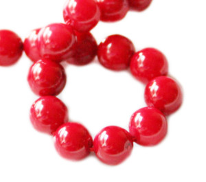 Red coral bead string, 8mm, round, 38cm