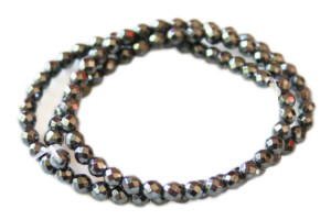 Hematite bead string, faceted, 4mm, 38cm