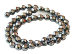 Hematite bead string, faceted, 8mm, 38cm