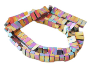 Colored Hematite bead string, matte gold/purple, rectangle, 4x8mm, 38cm