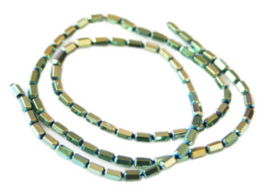 Colored Hematite bead string, metallic green, faceted tubes, 3x5mm, 38cm
