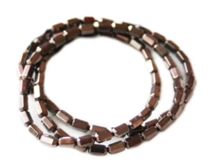 Colored Hematite bead string, metallic grey, faceted tubes, 3x5mm, 38cm