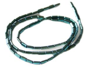 Colored Hematite bead string, metallic green, oval tubes, 3x5mm, 38cm