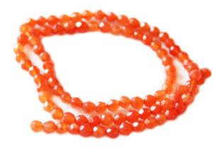 Orange Jade bead string, faceted, round, 3mm, 40cm