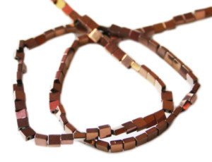 Colored Hematite bead string, metallic bronze, square, 2-string, 4mm, 38cm