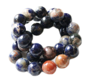 Orange Sodalite bead string, round, 12mm, 40cm