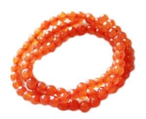 Orange Jade bead string, faceted, round, 4mm, 40cm