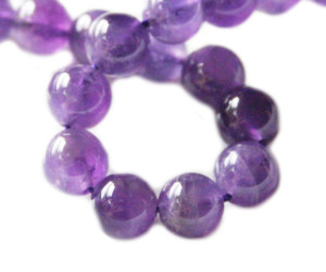 Amethyst bead string, round, 8mm, 40cm