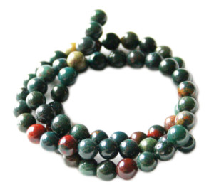 Bloodstone bead string, round, 6mm, 40cm