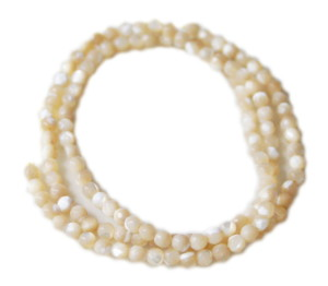 Cream shell bead string, round, faceted, 3mm, 40cm