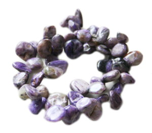Charoite tumble bead string, side-drilled, 8-12mm, 40cm