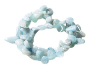 Aquamarine tumble bead string, side-drilled, 8-12mm, 40cm