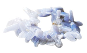 Blue Lace Agate tumble bead string, side-drilled, 15-40mm, 40cm
