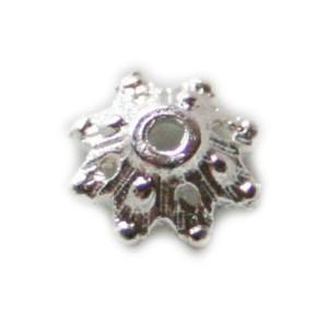 10 x Nickel free bead cap, bright silver, 8mm