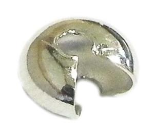 50 x Bright silver colour crimp cover. 3mm. Nickel and lead free.