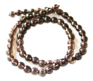 Smoky quartz bead string, A-grade, round, faceted, 6mm, 40cm