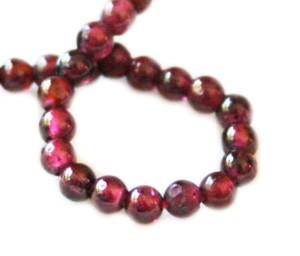 Garnet bead string, round, 6mm, 40cm