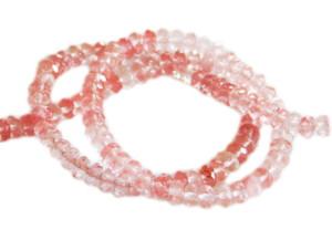 Cherry quartz bead string, faceted rondelle, 4x6mm, 40cm