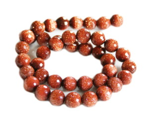 Goldstone bead string, round, faceted, 10mm, 40cm