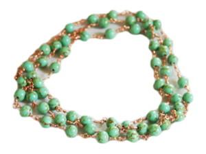 Green Howlite necklace, gold base, 90cm