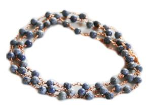 Dumortierite necklace, gold base, 90cm