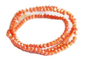 Burnt orange AB glass string, 3mm, rondelle, 38cm