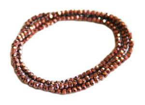 Metallic brown glass string, 2mm, rondelle, 38cm
