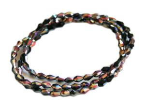 Black w pink AB glass string, 3x5mm, pear shape, 38cm