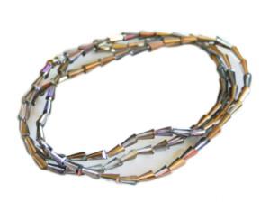 Smoky purple AB glass string, 4x8mm, fancy cut, 38cm