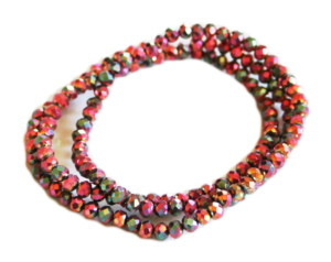 Metallic pink AB glass string, 4mm, rondelle, 38cm